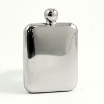 6 oz. Round Stainless Steel Flask in a Mirror Finish.