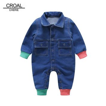 Croal Cherie 66-90cm Patchwork New Born Baby Clothes Denim Baby Girls Romper Jumpsuit Cotton 2018 Spring Fall Kids Boys Clothes