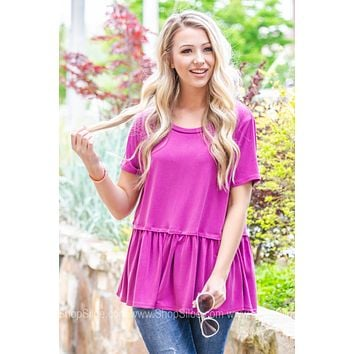Basic Round Neck Peplum Top | Orchid