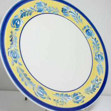 "China Plate 11"",  Blue Yellow Rim, Hand Painted, Scandiavian Design Rosemaling, Folk Art Style."