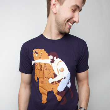 Man Punching Grizzly Bear American Apparel Navy S by sharpshirter