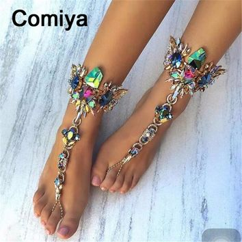 Comiya fashion new crystal rhinestone mosaic foot jewelry anklet for women tornozeleira feminina indian jewelry aliexpress