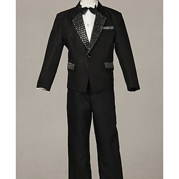 Three Pieces Black Ring Bearer Suit Boys Tuxedo