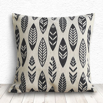 Geometric Pillow Cover, Pillow Cover, Tribal Pillow Cover, Linen Pillow Cover 18x18 - Printed Feathers - 119