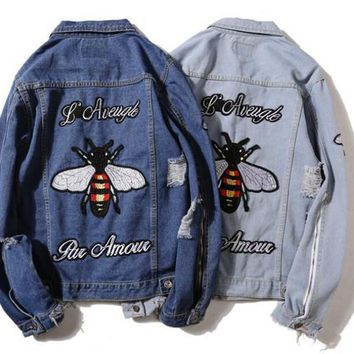 Embroidered Bee Country Cowboy Jeans Jacket Men's And Women's Autumn Clothes 2017 New Teenagers Broken Holes Cowboy Shirts Men