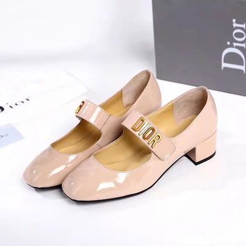 Dior new tide brand female gold standard paint leather shiny thick heels pink
