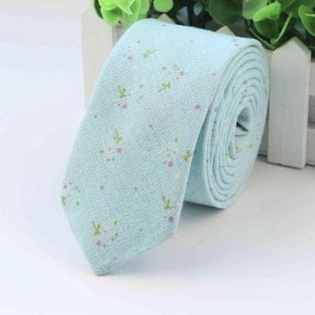 Skinny Aqua Floral Tie Boyfriend Gift Men's Gift Anniversary Party Men Husband Gift Wedding Gift For Him Groomsmen Gift for Friend Party