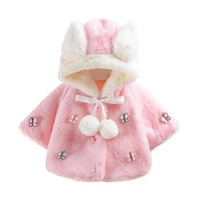 Hooded Winter Coat Cloak Baby Infant Butterfly Autumn Winter Hooded Coat Cloak Jacket Thick Warm Girls Clothes drop ship