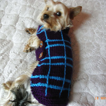 "Small Hand Knit Yorkie Dog Sweater / Coat 14""  Knitted dog Sweater Yorkie Dog Coat Small Dog Clothes"