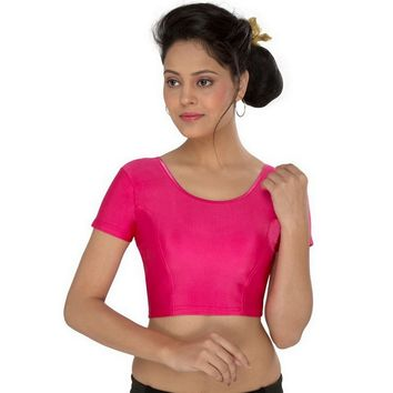 Saris and Things Pink Strech Lycra Stretchable Saree Blouse Crop Top A-10-pink