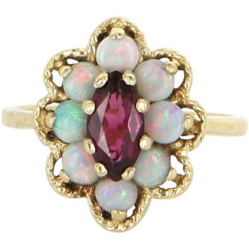 Opal Pink Tourmaline Vintage Cocktail Ring 14 Karat Yellow Gold Estate Fine Jewelry