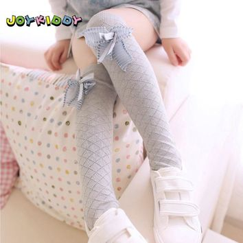 Toddler Girl Knee High Socks Cute Spring Autumn Children's Kawaii Bow Plaid Cotton School Socks for Kids 3-12 Years White Gray
