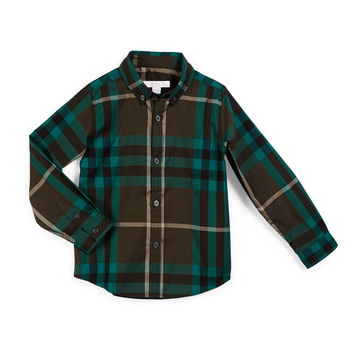 Fred Mini Long-Sleeve Check Shirt, Olive Green, Size 4-14,