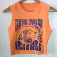 Good Times Rock N Roll Crop Top / Half TShirt / Belly Top / Muscle Top / Indie Boho Chic / Music Festival