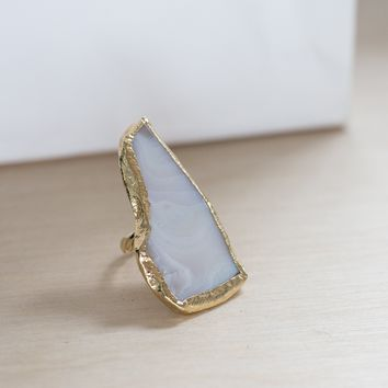 Organic blue lace agate pendant ring with filigree band ( size 8)