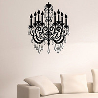 WALL DECAL VINYL STICKER CHANDELIER CEILING LAMP DECOR SB538