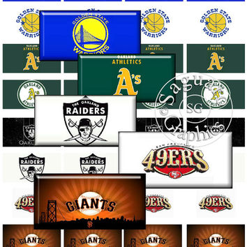 California Sports Teams Art - Digital Collage Sheets - 2x1 inch Dominoes for Jewelry Makers, Party Favors, Crafts Projects