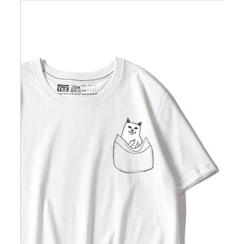 RipNdip Tide brand spoof slap cat middle finger cat t-shirt