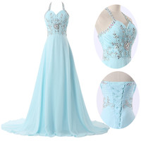 XMAS SALE PLUS Long Prom Dresses Evening Wedding Bridesmaid BEADED CHIFFON DRESS
