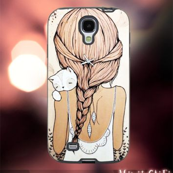 MC12Y,8,Cartoon,Girl,Cat,Cute,hair,Hipster,Pain-Accessories case cellphone-Design for Samsung Galaxy S5 - Black case - Material Soft Rubber
