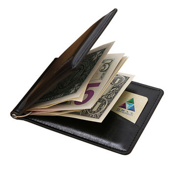Famous GUBINTU brand Men's leather money clip wallet with coin pocket magnet hasp portable man purse with card slot