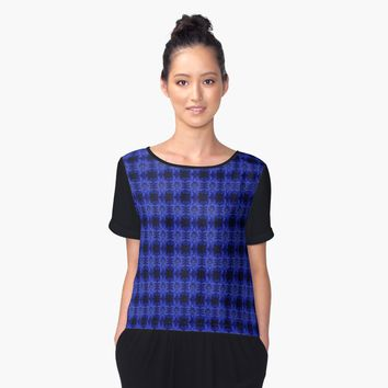 'Blue music speaker pattern' Women's Chiffon Top by steveball