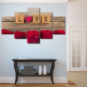 5 Pieces LOVE In Scrabble Pieces Pictures HD Prints Heart Red Roses Poster