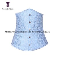 2833# Free shipping Everyday Slimming Appliqued Shapewear Jacquard underbust corsets Sky Blue Waist Cinchers