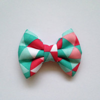 Teal and Pink Geometric Shapes  (Handmade Bow / Bow Tie / or Headband)