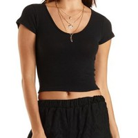 Cropped Ribbed V-Neck Shirt by Charlotte Russe