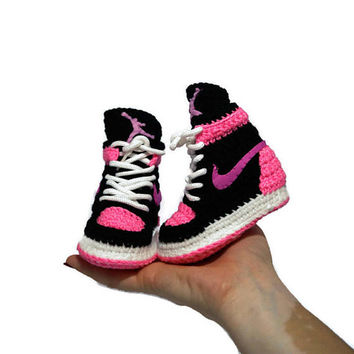 Crochet Baby Air jordan Sneakers, Girl Baby Air Jordan Shoes, Girl Baby Pink Crochet Slippers, Nike Toddler Air Jordan, Newborn Nike Booties