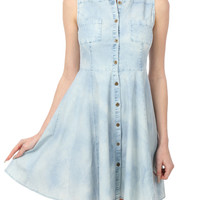 LE3NO Womens Sleeveless Chambray Denim Flared Dress with Pockets (CLEARANCE)