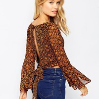 ASOS Open Back 70s Crop Blouse in Ditsy