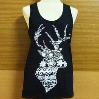 Cute workout shirt — Deer shirt,Women's Tank,deer tanks,Screenprinted, Tank shirts,tanktops,fitness shirts, Black Tank
