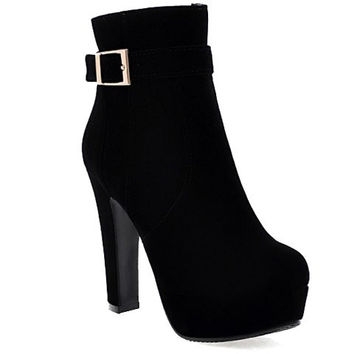 High Heel Short Boots With Buckle and Flock Design