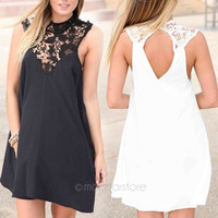 Fashion Women Sexy Lace Sleeveless Backless Cocktail Evening Party Mini Dress Size XS-XL = 1931555716