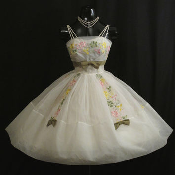 Vintage 1950's 50s Cupcake White Pastel Embroidered CHIFFON Organza Party Prom Wedding Dress Gown