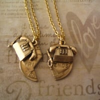 Best Friend Long Distance BFF Friendship Necklaces with Telephone Charm Jewelry
