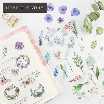 6 pcs/pack Natural's Kids Decorative Stickers Adhesive Stickers DIY Decoration Diary Stationery Stickers Children Gift