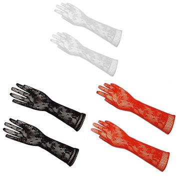 2017 Women Sexy Transparent Lace Elastic Gloves Satin Bow Trendy Stretch Opear Bride Elbow Length Fishnet Long-Sleeve Gloves