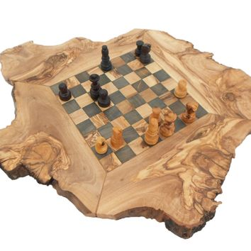 Engraved Rustic Chess Set Board, Olive Wood personalized Natural edge chess boar