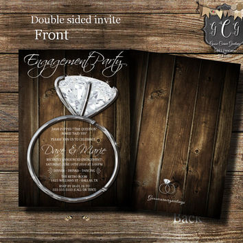RUSTIC GLAM Engagment Invitation Engagement Party invite Diamond Ring Invite Engagement Announcement Printed or Printable invitations