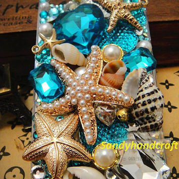 unique iPhone 4 case beach summer iPhone 5 case blue swarovski starfish conch ocean samsung galaxy s3 case galaxy s4 case iPhone4s