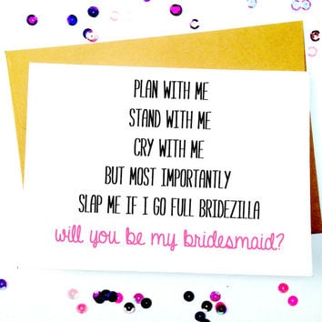 Funny Bridesmaid Card/Bridesmaid Invitation/Funny Wedding Invitation/Bridesmaid Proposal/Blank