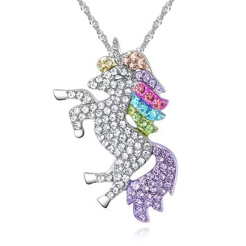 Luxury Animal Necklace For Women Girl Silver Paved Full Zirconia Multicolor Crystal Pendant Necklace Collier Collar Unicorn