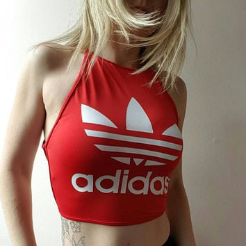 Reworked adidas backless crop top
