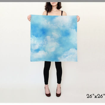 Blue Sky Scarf, Cloud Scarf, Blue and White Scarf, Silk Scarf, Square Scarf, Long Scarf, Cloudy Sky Print, Soft Clouds, Fluffy Clouds, White