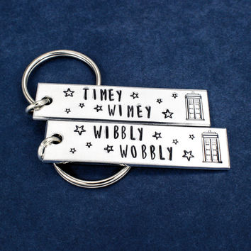 Wibbly Wobbly Timey Wimey - TARDIS - Doctor Who - Aluminum Key Chain Set