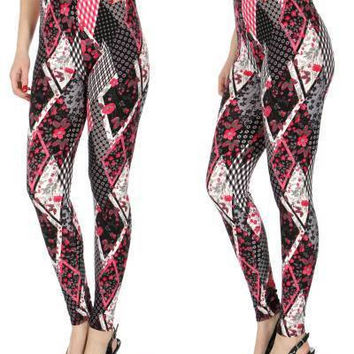 Flowers and Diamonds Print Softbrush leggings PLUS SIZE