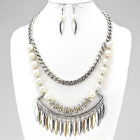 Tribal Silver & White Pearl Metal Leaf Statement Necklace